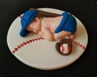 """Fondant big baseball baby laying on a 6"""" inches ball blanket cake topper"""
