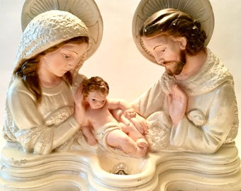 Vintage Chalk Ware Holy Family Shrine/Statue/Sculpture Lamp Light Catholic Christian Home Decor