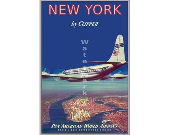 Pan Am New York - Vintage Airline Travel Poster (505432947)