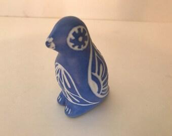 Pretty Handmade Ceramic Blue Bird Signed