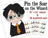 Pin the Scar on the Wizard ~ Unofficial Harry Potter Inspired Party Game ~  Instant Digital Download