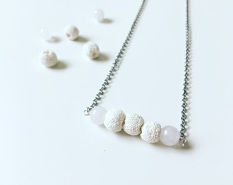 3 White Lava & White Amazonite Necklace, Essential Oil Diffuser, Cross Bar Necklace, Clay Lava Bead, Minimalist, Modern Aromatherapy Jewelry