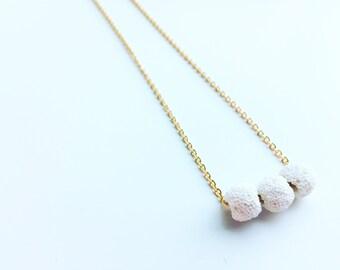3 White Lava Necklace, Essential Oil Diffuser, Clay Lava Bead, Minimalist, Modern Aromatherapy Jewelry