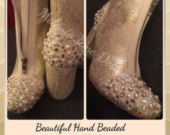 Beaded Wedding shoes boots bride
