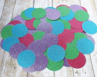 Mermaid Glitter Confetti-1.5 Inch Paper Circles-Under the Sea Party-Blue Purple Hot Pink Green-Birthday Table Decoration-250 Pieces