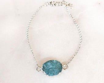 Sterling Silver and Sea Green Druzy Bracelet