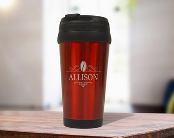 Red Stainless Steel Coffee Travel Mug, Personalized Office Gift