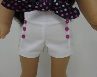 18 inch  doll clothes -  White   pin tuck shorts with fuchsia  buttons.