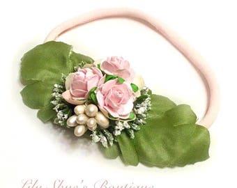 Newborn baby girl pink floral nylon headband- skinny headbands for newborns hair