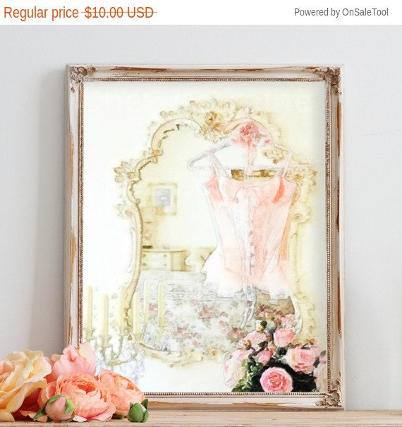 Shabby Cottage Chic Nest Prints Home Decor Wall Art ~ Lingerie art print shabby chic watercolor fine by