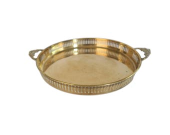 Vintage Gold Brass Round Tray With Double Floral Handles