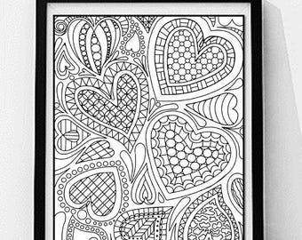 Hearts Coloring Page. Love Coloring Page, Adult Coloring Page, Printable Wall Art, Gift for Her