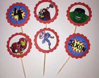24 Avengers Cupcake Toppers (birthday cupcake toppers)