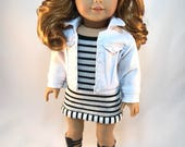 "18 inch doll clothes ""The Rumor"" Strappy Tee Sundress, Denim Jacket, Gladiator Sandals for the ""American Girl Doll"""