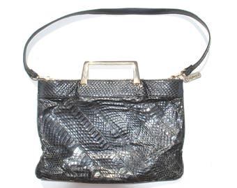 Vintage Black Eel Skin Handbag Purse Gold Handles