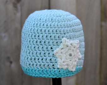 Crocheted Teal Beanie with Snowflake Ready to Ship