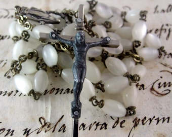 Wonderful Italian Antique White Glass Rosary- Silver Plated - Religious Catholic