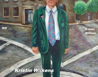 Irish Lad - Digital Download of Portrait of Man in Green Suit with Pink Carnation