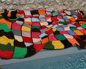 Mondrian: Original large french vintage afghan blanket or throw, patchwork with crocheted squares and rectangles
