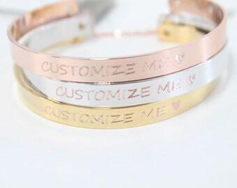Personalized Bangle Bracelet, C20-E1, Nickel Free, 1pc, 63x6.2mm, 2holes, Name Bracelet, GPS Coordinate Bracelet, Friendship Bracelet, Gifts