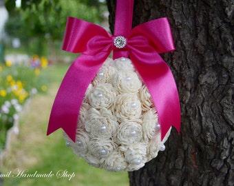 Kissing Ball, Sola Flower Kissing Ball, Fushia Pomander