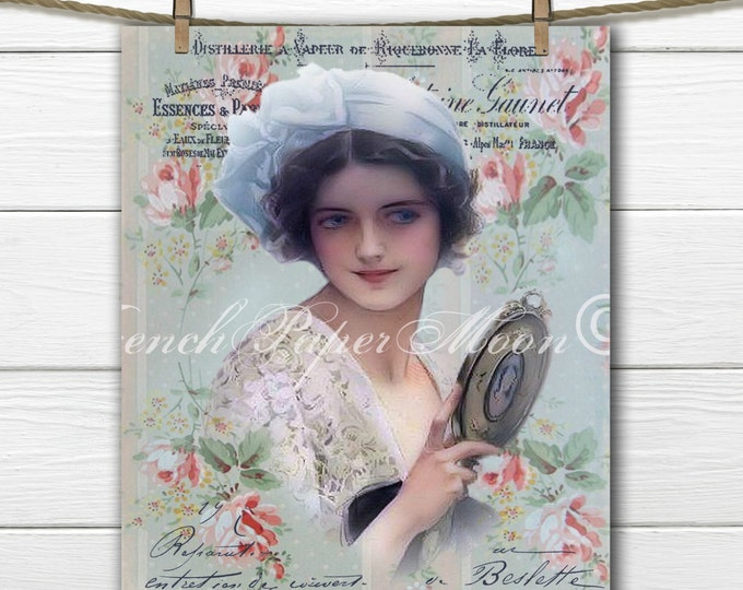 Victorian Lady, Roses, Digital Collage Sheet, Vintage French Graphics, Vintage Lady with Mirror, Instant Download Transfer Image