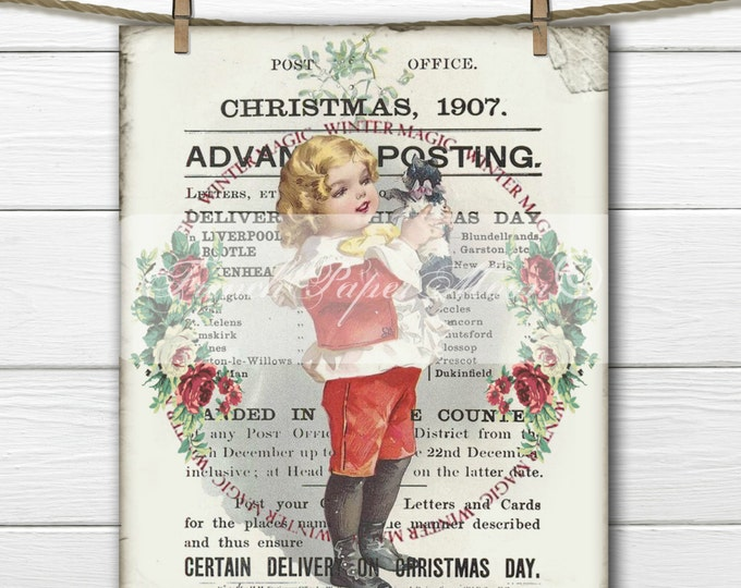 Adorable Vintage Christmas Kitten Printable, Digital Christmas Pillow Image, Victorian Child, Xmas Fabric Transfer Graphic, Instant Download