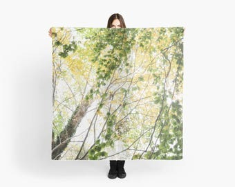 Large Square Scarf- Green Gold Branches, Nature Photo Scarf, Fashion Art, photo scarf, Green, gold, black, Leaves Scarf, Tree Scarf