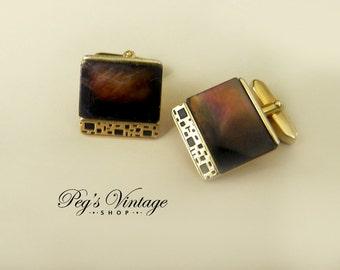 Vintage Cuff links, Brown Mother of Pearl Vintage Cufflinks