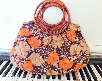 1990's, AMICI, Fabric Hand Bag, Rattan Handles