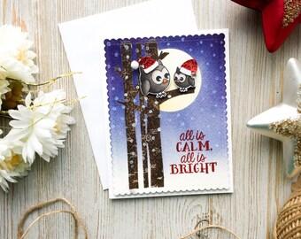 Christmas Card - Owls   Owl Christmas Card   Handmade   Holiday Card   Happy Holidays   Merry Christmas   Christmas Cards   Cute
