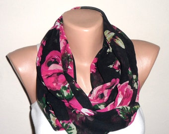 black pink green infinity scarf chiffon scarf pink flowered loop scarf circle scarf fashion scarves gift for her