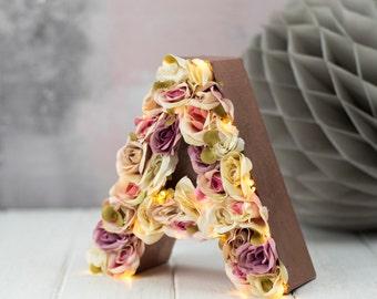 rustic wedding lights - Flower letter - floral letter - nursery decor - rustic wedding
