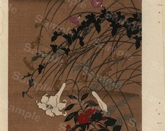 Original Japanese woodblock print Decorative art home decor Wall decoration Bridge Autumn Flowers