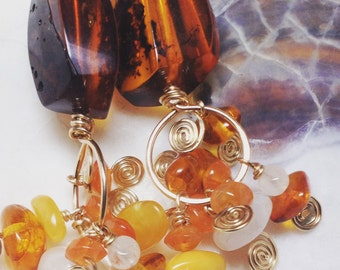 Amber, Moonstone, Sunstone and Gold Spiral Earrings