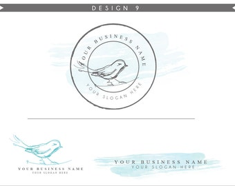 Watercolor Logo Design Branding Package Inc. Photography Logo Watermark - sketchy bird cute Watercolor Logo- Logo 9