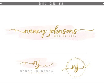 Watercolor Logo Design Branding Package Inc. Photography Logo Watermark - GOLD GLITTER initials letters script cute Watercolor Logo- Logo 32