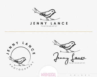 Sketchy Styish Bird- hand sketched logo - BIRD boutique Logo kit - branding kit products logo sketchy  photographer logo branding- artistic