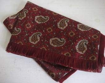 Paisley Scarf, Gents Scarf, Vintage Scarf, Red Paisley Neck Scarf, Men's, Gents.