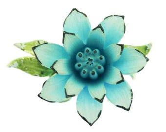 Vintage Coro Flower Brooch, Coro Blue Flower Brooch, Coro Blue Flower Pin, Enamel Flower Pin