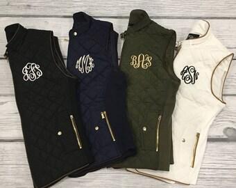 Monogram Vest, Monogram Puffy Vest, Monogram Vest, Quilted Vest, Monogrammed Clothing, Black Vest, Puffy Vest, Black Quilted Vest