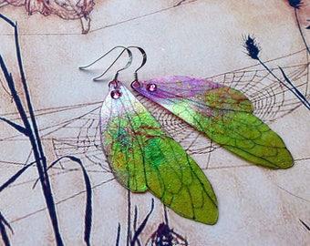Fairy Wing Earrings, Fairy Earrings, Faerie Earrings, Iridescent Green Earrings, Hand Painted, Green & Pink Dangle Earrings, Boho, Hippy