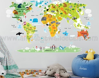 Map Wall Decal, Kids Map Wall Decal, Animal Map Wall Decal, Map with Animals Wall Decal, Playroom Wall Decal, Nursery Wall Decal, 16-0001