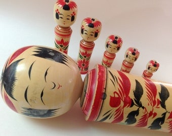 Vintage Large Kokeshi Doll And Family, Hand Painted, Signed Wooden Kokeshi Peg Doll Family of Six