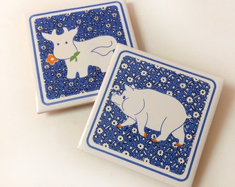 Farm Animal Tiles, Trivets, Coasters, Set of 2, 1980s Country Kitchen Blue Gingham Cow, Pig, Tiles or Coasters