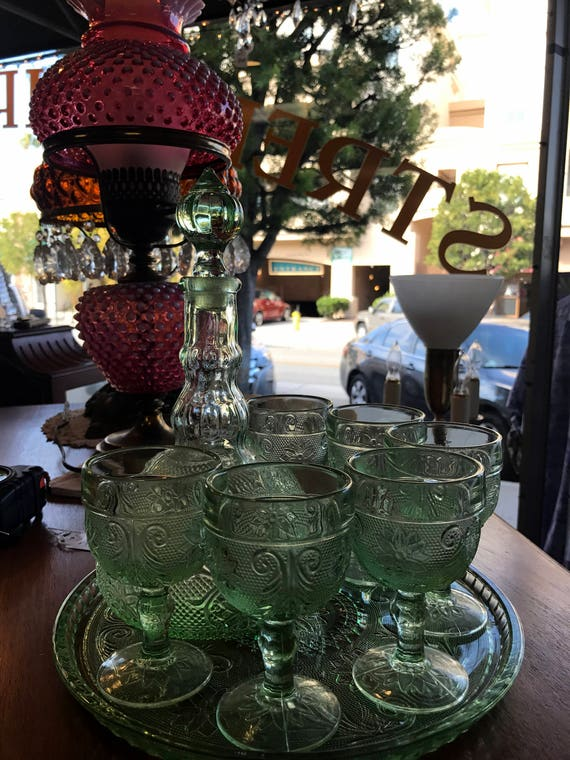 Indiana Tiara Glass Chantilly Green 9 Piece wine decanter, glasses and plate