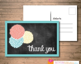 Thank You Post Card - Retro Vintage - Chalkboard - Turquoise - Coral - Yellow - Flowers - PRINTED