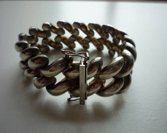 Beautiful Vintage Wide Chunky Silver Plate Link Bracelet