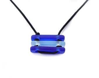 Cobalt Blue Necklace for Men Bar Necklace Stacked Necklace Black Cord Necklace Mens Necklace Men Jewelry Gift for him Minimalist Jewelry