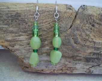 Light Green Beaded Dangle Earrings